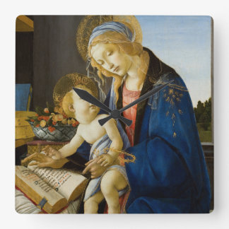Madonna of the Book by Botticelli Square Wall Clock