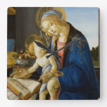 Madonna of the Book by Botticelli Wall Clocks