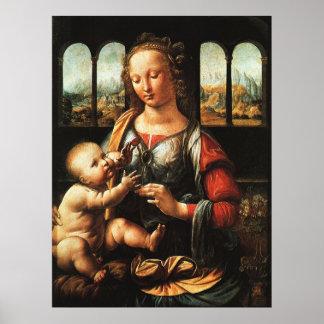 madonna of the carnation, Leonardo da Vinci Poster