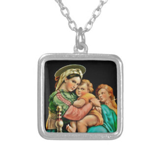 Madonna of the Chair Square Pendant Necklace