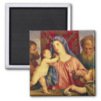Madonna of the Cherries with Joseph 2 Inch Square Magnet