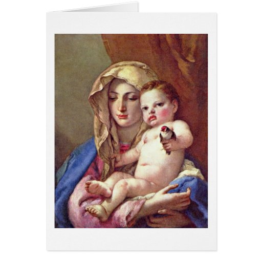Madonna Of The Goldfinch By Giovanni Tiepolo Greeting Cards