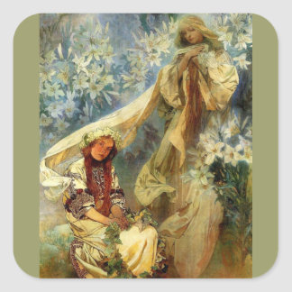 Madonna of the Lilies 1905 Square Sticker