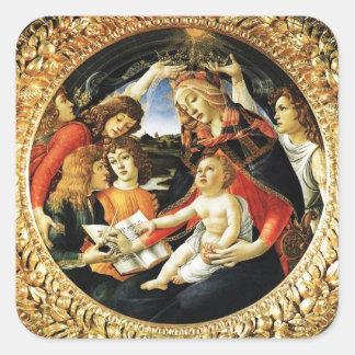 Madonna of the Magnificat Square Square Sticker