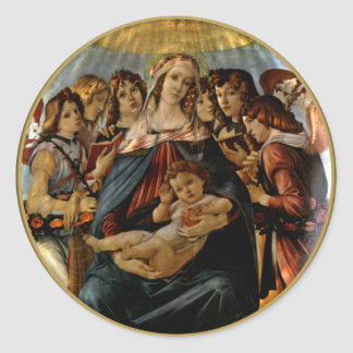 Madonna of the Pomegranate - Botticelli Classic Round Sticker