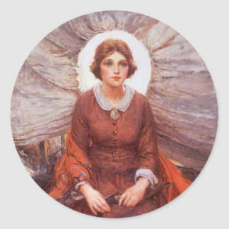 Madonna of the Prairie by WHD Koerner, Vintage Art Classic Round Sticker
