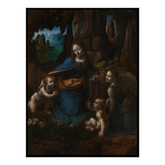 "Madonna of the Rocks""Virgin Mary, baby Jesus, John Poster"