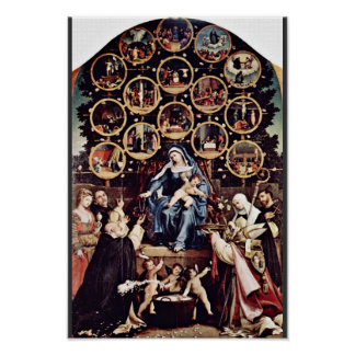 Madonna Of The Rosary By Lotto Lorenzo (Best Quali Poster