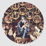 Madonna Of The Rosary By Lotto Lorenzo (Best Quali Classic Round Sticker