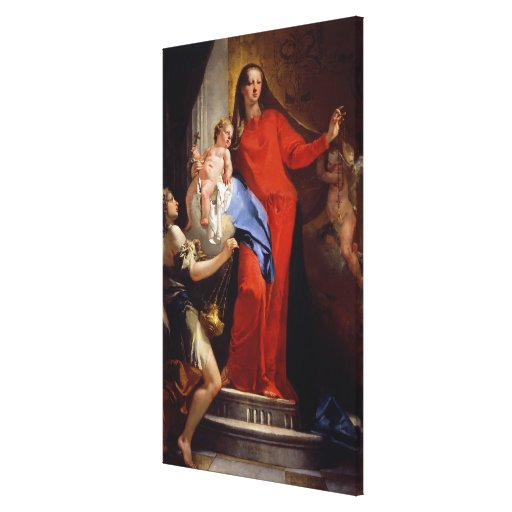 Madonna of the Rosary (oil on canvas) Canvas Print