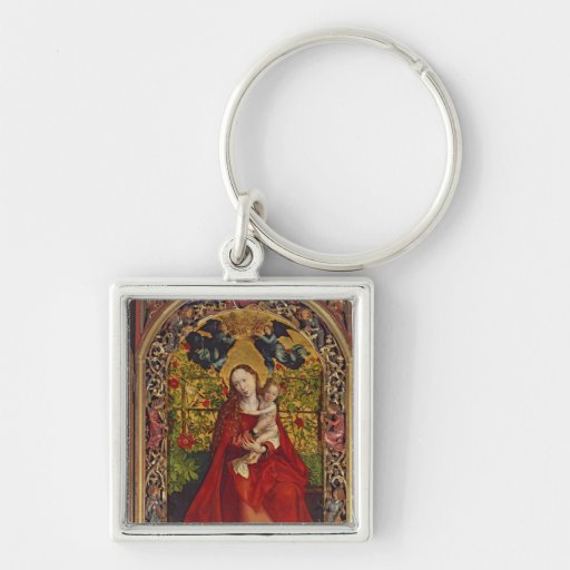 Madonna of the Rose Bower, 1473 Silver-Colored Square Keychain