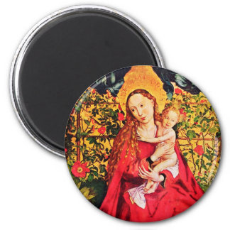 MADONNA OF THE ROSE BOWER 2 INCH ROUND MAGNET