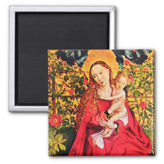 MADONNA OF THE ROSE BOWER 2 INCH SQUARE MAGNET