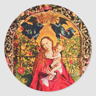 MADONNA OF THE ROSE BOWER CLASSIC ROUND STICKER