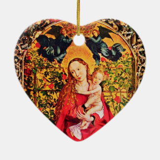 MADONNA OF THE ROSE BOWER MISTLETOES,HOLLY BERRIES CERAMIC ORNAMENT
