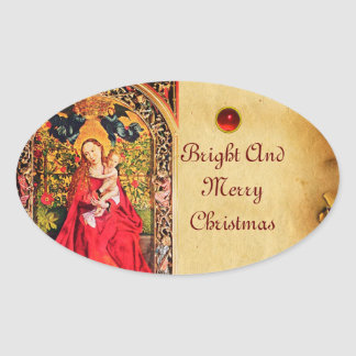 MADONNA OF THE ROSE BOWER PARCHMENT OVAL STICKER