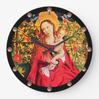 MADONNA OF THE ROSE BOWER ,PINK AMETHYST GEMS LARGE CLOCK