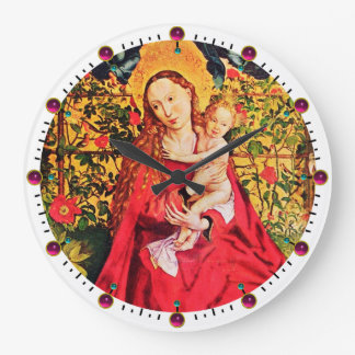 MADONNA OF THE ROSE BOWER,PINK FUCHSIA GEMS, White Wall Clocks