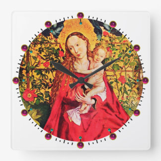 MADONNA OF THE ROSE BOWER,PINK FUCHSIA GEMS, White Clocks