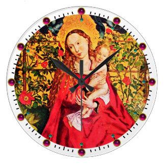 MADONNA OF THE ROSE BOWER,PINK FUCHSIA GEMS, White Large Clock