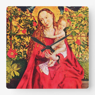 MADONNA OF THE ROSE BOWER,PINK FUCHSIA GEMS, White Square Wall Clock