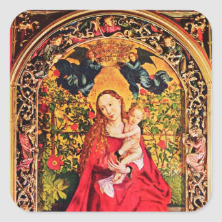 MADONNA OF THE ROSE BOWER SQUARE STICKER