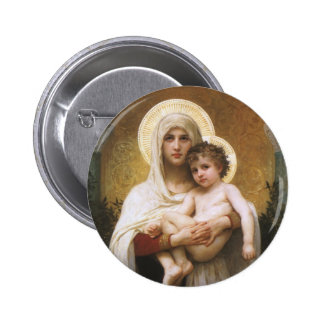 Madonna of the Roses, Bouguereau, Vintage Realism Pinback Button
