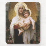 Madonna of the Roses, Bouguereau, Vintage Realism Mousepads
