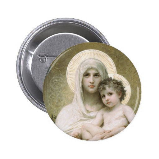 Madonna of the Roses Pinback Buttons