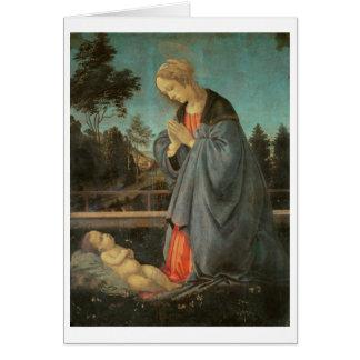 Madonna que adora al niño, c.1477-80 (aceite en p tarjeta de felicitación