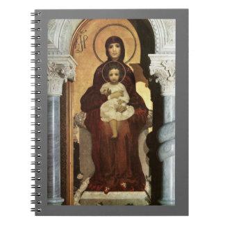 Madonna que detiene al bebé Jesús en el trono Libreta Espiral
