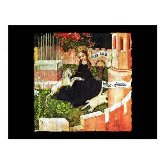 Madonna que lleva a cabo el unicornio blanco tarjeta postal