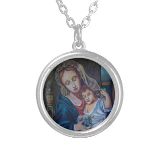 madonna round pendant necklace