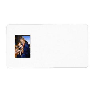 Madonna teaches the child Jesus Sandro Botticelli Label