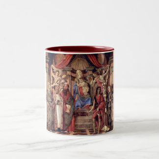 Madonna throne of angels and saints Two-Tone coffee mug