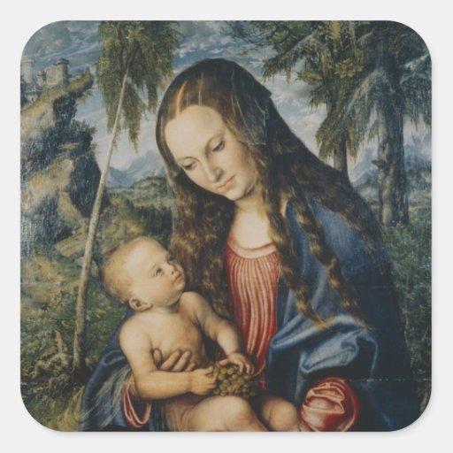 Madonna under the fir tree, c.1510 square sticker
