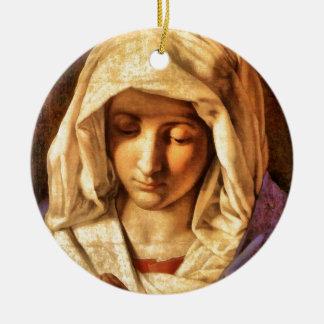 Madonna velado blanco por el siglo XVI de Adorno Redondo De Cerámica