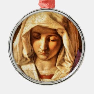Madonna velado blanco por el siglo XVI de Adorno Redondo Plateado