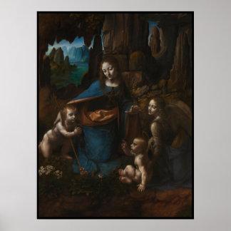 """Madonna Virgen María de las rocas """", bebé Jesús, Póster"""