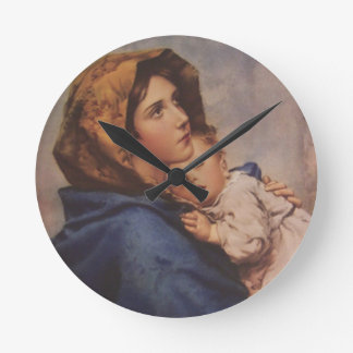 Madonna Virgin Mother Mary with Sleeping Jesus Round Clock