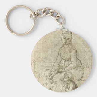 Madonna w Christ & St. John the Baptist by Rapahel Keychain