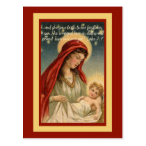 Madonna With Baby Jesus Luke 2 Postcard