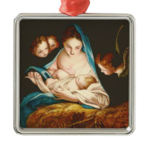 Madonna With Baby Jesus Metal Ornament