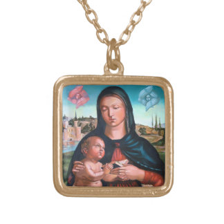 Madonna with Cherubs Gold Plated Necklace