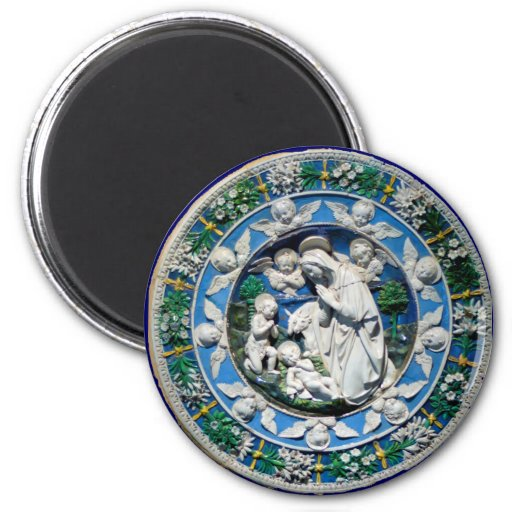 MADONNA WITH CHILD AND ANGELS 2 INCH ROUND MAGNET
