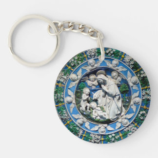 MADONNA WITH CHILD AND ANGELS Ave Maria Prayer Keychain