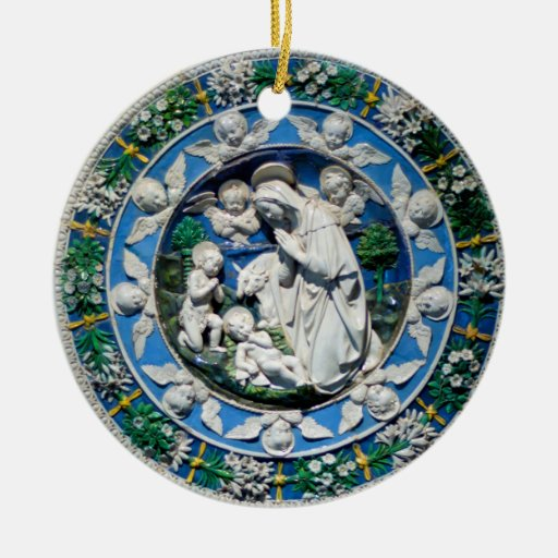 MADONNA WITH CHILD AND ANGELS Double-Sided CERAMIC ROUND CHRISTMAS ORNAMENT