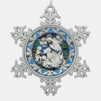 MADONNA WITH CHILD AND ANGELS SNOWFLAKE PEWTER CHRISTMAS ORNAMENT