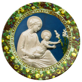 MADONNA WITH CHILD AND WHITE LILIES  FLORAL CROWN PORCELAIN PLATES