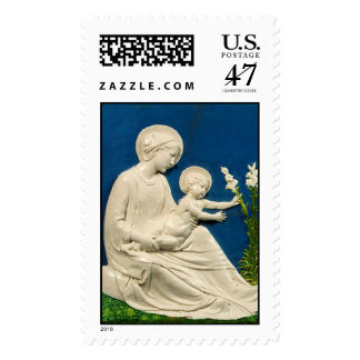 MADONNA WITH CHILD AND WHITE LILIES POSTAGE STAMP